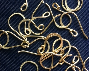 30 Pairs of Gold Finish,Silver Finish,  E-Coated, Hammered Earwires, Findings, Metal Earwires, Copper Earwires