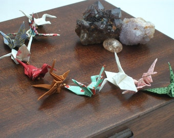 Origami crane mobile handing / 10 Multi coloured cranes / No. 3865