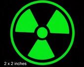 Radioactive Glow in the Dark Decal / Sticker - Macbooks, iPhones, Andriod, Smartphones, Halloween, Laptops, Car Windows