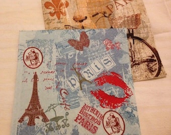 Decoupage vintage napkins set of 2 Paris Eiffel tower French France