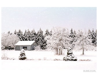 Landscape Photography PRINT, Grey Shed, Wall Art