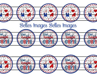 4th of July bottle cap images 1 inch circle