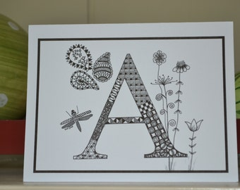 Zentangle Alphabet Notecards - Package of 10