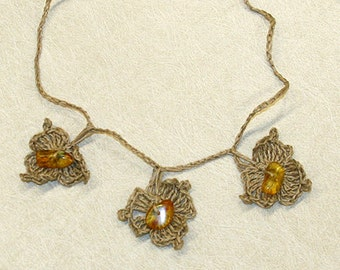 Crochet linen necklace with amber drops; from Lithuania