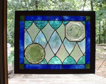 Beautiful blue stained glass panel with vintage type plates with stained glass border and wooden frame