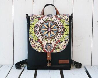 Mandala Mini Backpack, Boho Backpack, Colorful Flap Rucksack, Functional Women's Bag, Bohemian Backpack, Waterproof Backpack, Vegan Rucksack
