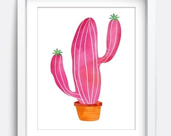 Cactus Print, Instant Download Printable Art, Printable Wall Art, Nursery Art, Kids Wall Art, Cactus Print, Home Decor Art, Pink Art, Cute