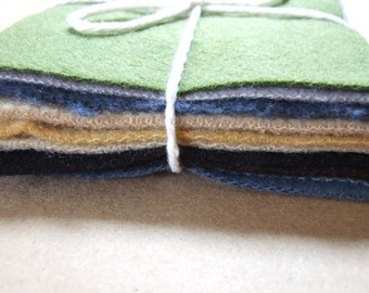 "Felted wool bundle.  4"" squares.  10 pcs.  Lovely neutrals."