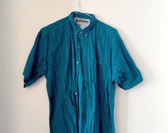 Teal striped button-up shirt (M/L)