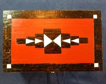 Navajo Pattern Hand Painted Pyrogrpahy Wooden Box