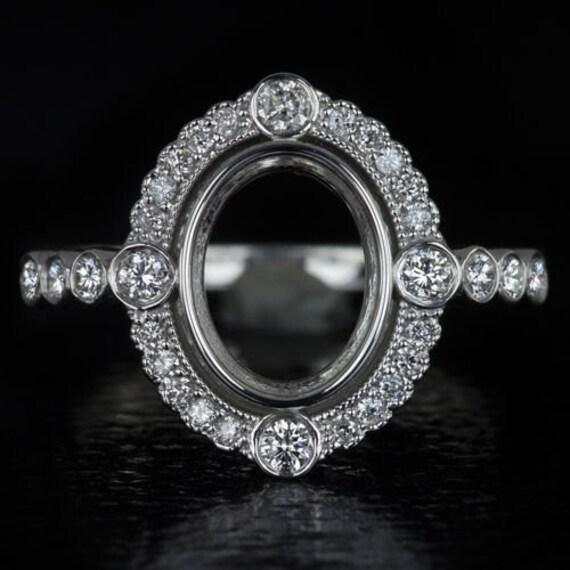 9x7mm vintage antique oval halo setting 14k white gold. Black Bedroom Furniture Sets. Home Design Ideas