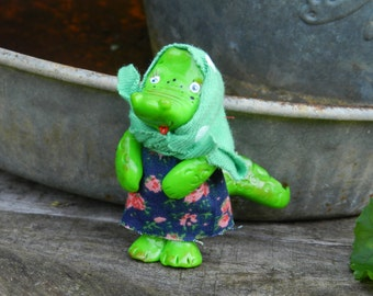 polymer clay figurine, Alligator, doll,clay figurine , crocodile