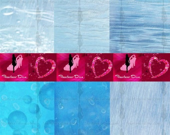 Watery Blue Digital Scrapbooking Paper