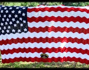 American Flag: A Soldier's Pride Crochet Afghan Pattern