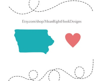 Iowa SVG state silhouette, heart svg, and dotted lines INSTANT DOWNLOAD vector files for cutting machines - svg, png, dxf, eps