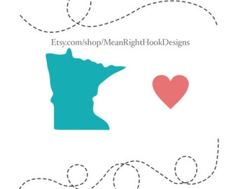 Minnesota SVG, state svg, silhouette, heart svg, and dotted lines INSTANT DOWNLOAD vector files for cutting machines - svg, png, dxf, eps