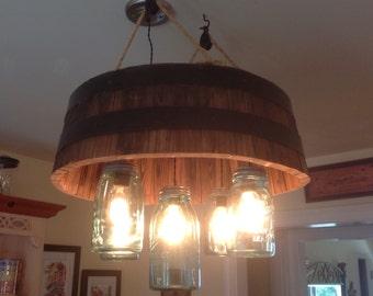 Barrel and mason jar chandelier