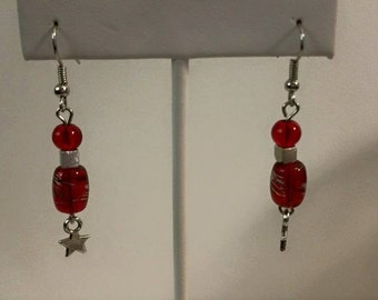 Red and silver star dangle earrings
