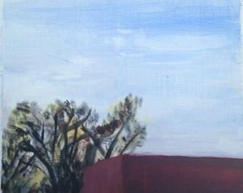 Original Painting, Plein Air Landscape, Acrylic on Masonite, 11 5/8 x 10