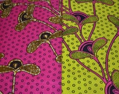 6 yards Yellow and Pink Hibiscus Designed African Fabric