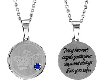 Angel Disc Pendant With Personalized Birthstone