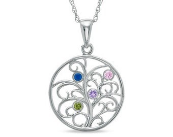 Family Tree Necklace, Silver Tree Necklace, Family Tree Pendant With Four Personalized Birthstones, 925 Sterling Silver Family Necklace