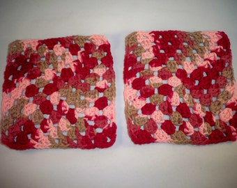 Red Granny Square Washcloths/Pot Holders--set of 2
