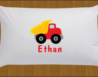 Personalized Red Dump Truck Pillow Case Construction Pillow Case