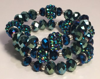 Paris Wrap- Jewel tone Green and Blue Wrap Bracelet
