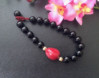 Chunky Black Onyx and Red Tagua Nut Asymmetrical Design Beaded Necklace