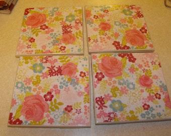 Flower Ceramic Coasters, set of 4