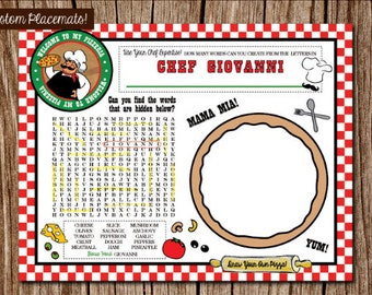 Our Little Chef Theme Pizza Party Birthday Custom Crossword Game & Place Mat