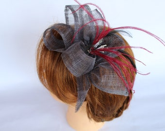 1 greenhouse - head in sisal, fuchsia ostrich feathers and plumes of black cock