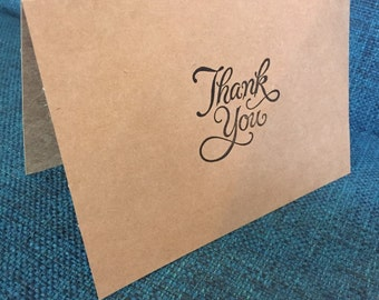 Hand Stamped Kraft Paper Thank You Cards Kraft Paper With Envelopes
