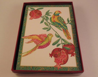 SALE Caspari Boxed Notes Birds of Paradise 8 Cards 8 Envelopes Blank Figs Pomegranates