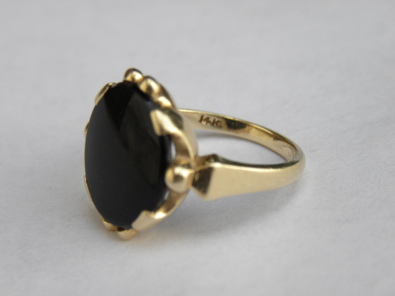 black stone gold ring - photo #16