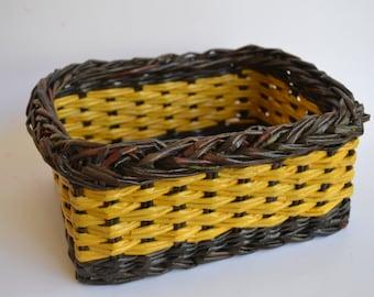 Handmade basket from newspaper