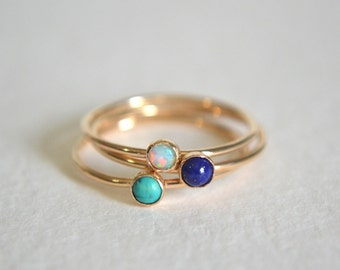 14k Solid Gold Set Three Rings, 14k Gold Opal Ring, Gold Turquoise Ring, Gold Lapis Lazuli Ring, Stacking Ring, Stackable Ring, Dainty Ring