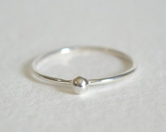 One Sterling Silver Ball Ring, Stacking Ring, Sterling Silver Ring, Dainty Ring, Stackable Ring, Silver Ball Ring