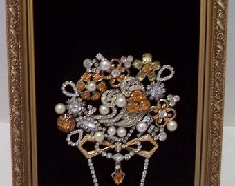 Framed Vintage Costume Jewelry Art Vase With Flowers Amber and Rhinestones