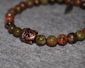 6mm Unakite buddha bead bracelet (Buddha X Feather)