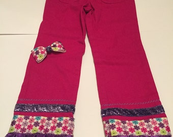 Girls Pink Embellished Pants - size 4T