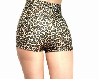 High waisted leopard print shorts hot pants