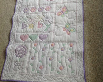 Baby Quilt, Baby Shower Gift, Hand Quilted Baby Quilt, Baby Girls