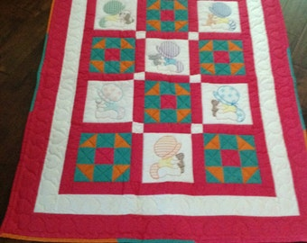 Baby Quilt, Baby Shower Gift, Baby Girl Gift, Hand Quilted Baby Blanket