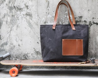 Tote bag waxed canvas T103/ Black/ leather handles / shopper bag