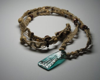 Hemp Necklace with Blue-Turquoise Pendant