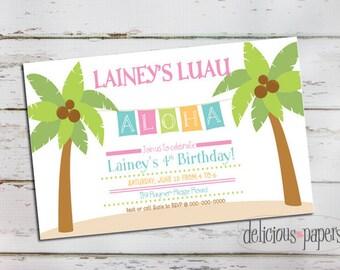 luau birthday invitation •hawaiian invitation • luau invitation • kids birthday invitation • hawaiian luau birthday party invitation
