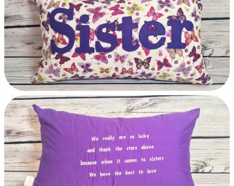 """12x20"""" cushion personalised with sister MADE TO ORDER"""