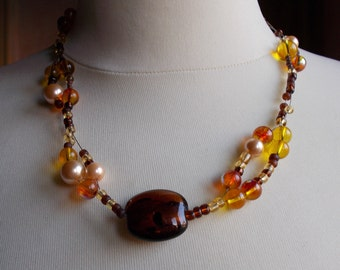 "Glass Pearl necklace ""Golden sunset"""